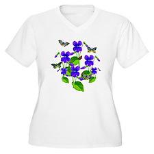 Violets and Butterflies Plus Size T-Shirt