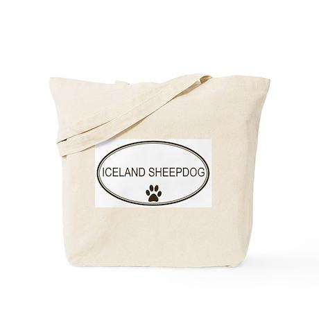 Oval Iceland Sheepdog Tote Bag