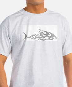Tribal Silver Shark 1 Ash Grey T-Shirt