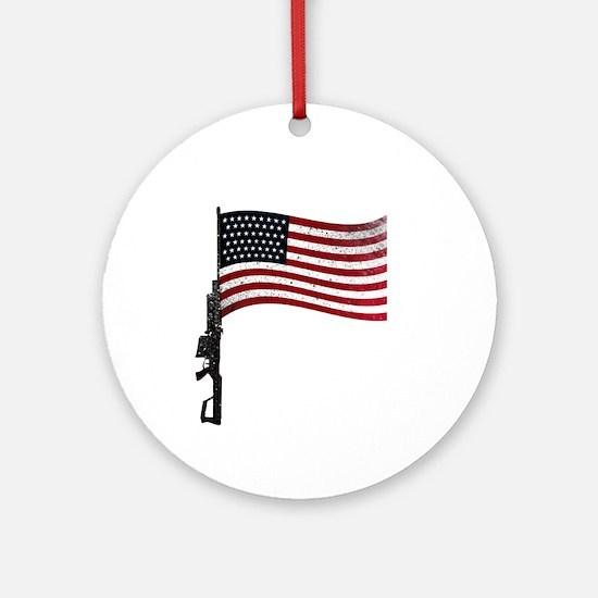 Gun Flag Black Ornament (Round)