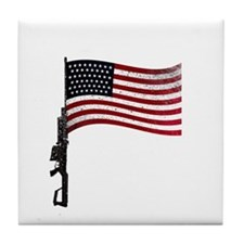 Gun Flag Black Tile Coaster