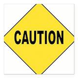 Caution Square Car Magnets