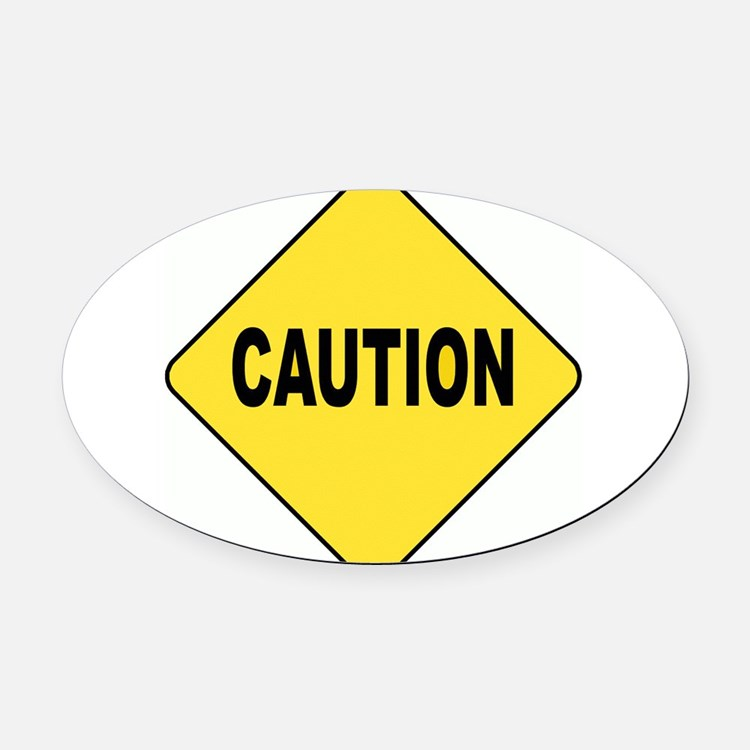 Caution Sign Oval Car Magnet