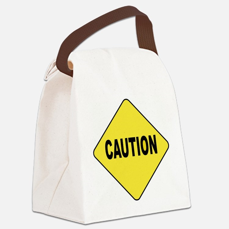 Caution Sign Canvas Lunch Bag