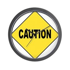 Caution Sign Wall Clock