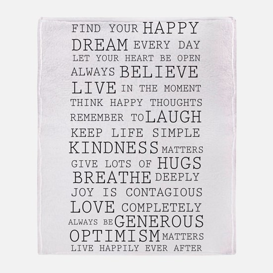 Positive Thoughts Throw Blanket