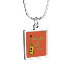 Have Guitar Will Play Silver Square Necklace