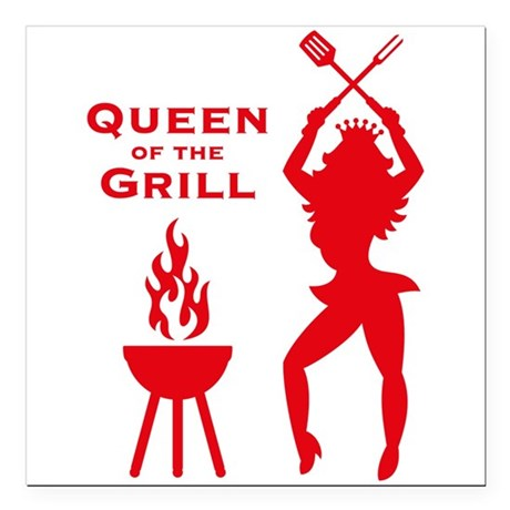 Queen Of The Grill (Barbecue) Square Car Magnet 3""