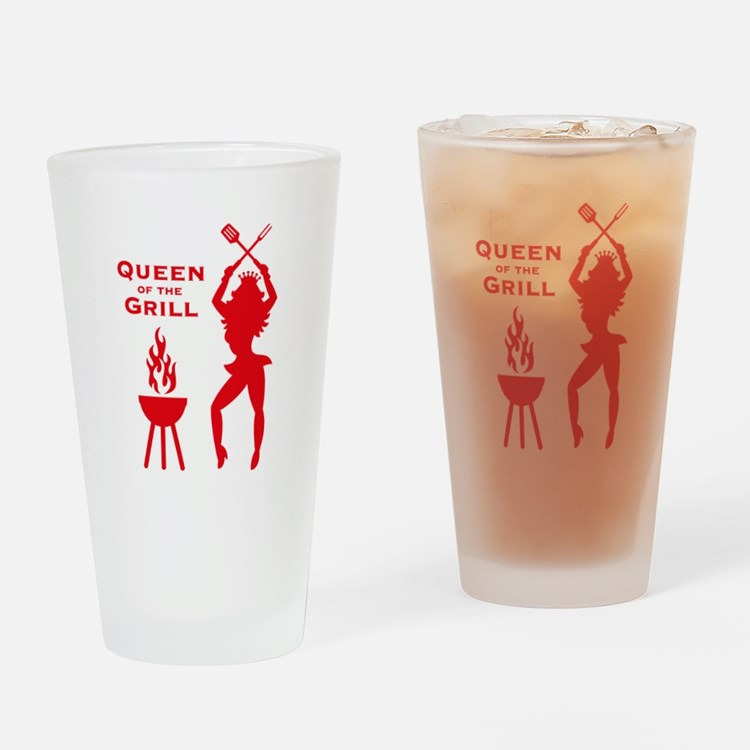 Queen Of The Grill (Barbecue) Drinking Glass