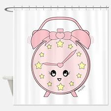 Cute Pink Alarm Clock Shower Curtain