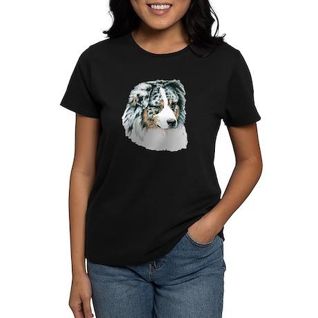 Blue Merle Australian Shepherd Womens Dark T-Shirt