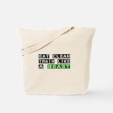 Eat Clean Train Like A Beast | Fitness Slogan Tote