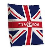 British flag its a boy Burlap Pillows