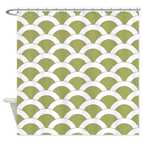 Med Olive Green Scalloped Shells Shower Curtain By Hhtrendyhome