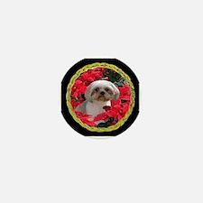 Shih Tzu Christmas Poinsettia Audrey Mini Button (