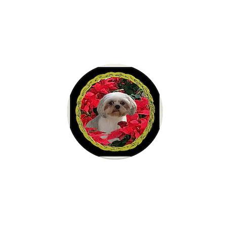 Shih Tzu Christmas Poinsettia Audrey Mini Button