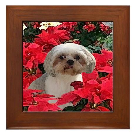 Shih Tzu Christmas Poinsettia Audrey Framed Tile