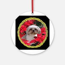 Shih Tzu Christmas Poinsettia Audrey Ornament (Rou