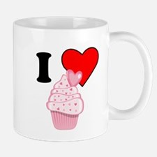 I Heart Pink Heart Cupcake Small Mug