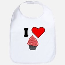 I Heart Red Cupcake With Sprinkles Bib