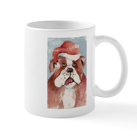 Santa Bulldog Ceramic Mug