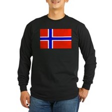 Norwegian Blank Flag Long Sleeve Black T-Shirt
