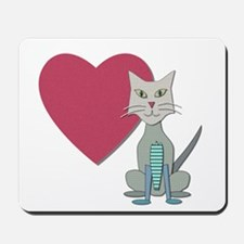 Fabric Heart And Cat Mousepad