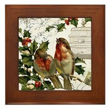 Vintage French Christmas birds and birdcage Framed