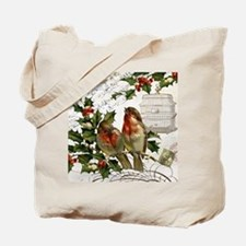 Vintage French Christmas birds and birdcage Tote B