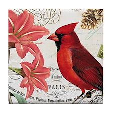 Vintage winter garden amarylis and cardinal Tile C