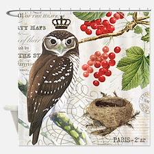 Vintage winter garden owl and berries Shower Curta