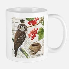 Vintage winter garden owl and berries Mug