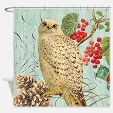 Vintage winter garden white owl Shower Curtain