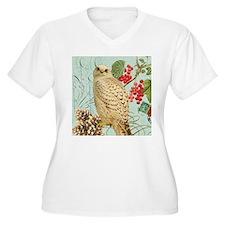Vintage winter garden white owl Plus Size T-Shirt