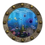 Underwater Love Porthole Round Car Magnet