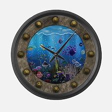 Underwater Love Porthole Large Wall Clock