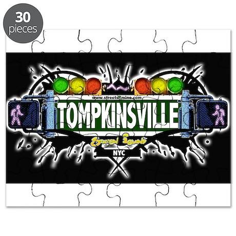 Tompkinsville Staten Island NYC (Black) Puzzle