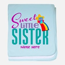 Personalized Name Sweet Little Sister baby blanket