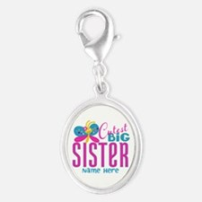 Personalized Big Sister Silver Oval Charm