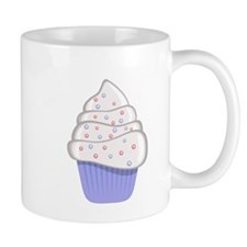 White and Purple Cupcake Small Mug
