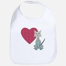 Fabric Heart And Cat Bib