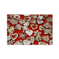Gingerbread Christmas Candy Rectangle Magnet