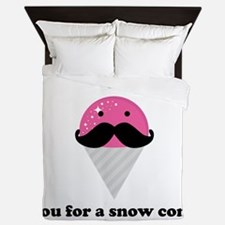I Mustache You For A Pink Snow Cone Queen Duvet