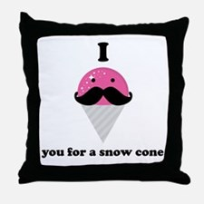 I Mustache You For A Pink Snow Cone Throw Pillow