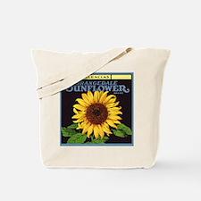 Vintage Fruit Crate Label Art, Sunflower Tote Bag