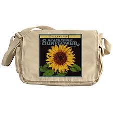 Vintage Fruit Crate Label Art, Sunflower Messenger