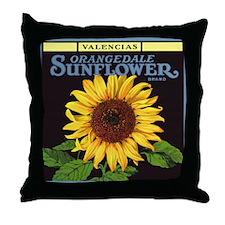 Vintage Fruit Crate Label Art, Sunflower Throw Pil
