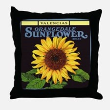 Vintage Fruit Crate Label Art, Sunflower Throw Pil