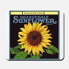 Vintage Fruit Crate Label Art, Sunflower Mousepad