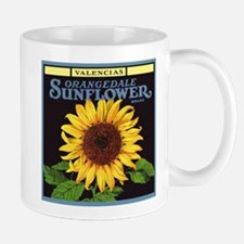 Vintage Fruit Crate Label Art, Sunflower Small Small Mug